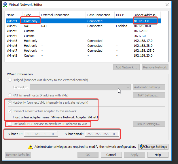 VMnet settings on my vmware setup